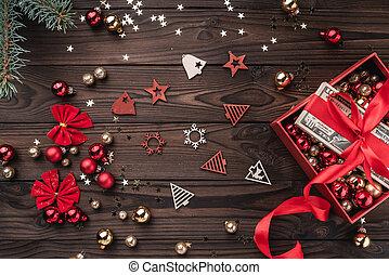 trä topp, pengar, gåva, bakgrund., artikeln, utsikt., jul