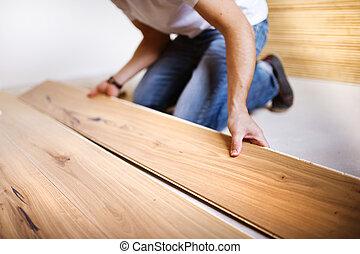 trä, tusenkonstnär, installera, golv