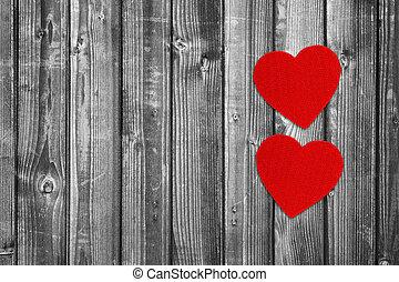 Trä, två, bakgrund,  copy-space, hjärtan, röd