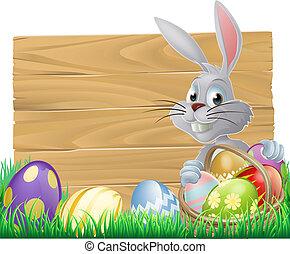 trä, underteckna, påsk kanin