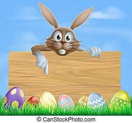 trä, underteckna, påsk kanin, och, ägg