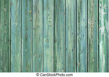 trä vägg, av, skjul, consisiting, av, blåa gröna, plankor