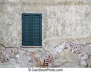 trä vägg, fönster, sten
