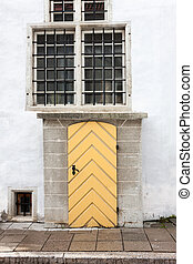 trä vägg, gammal, dörr, vit