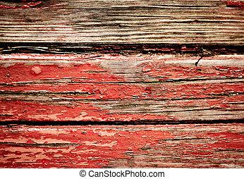 trä vägg, smutsa ner, röd