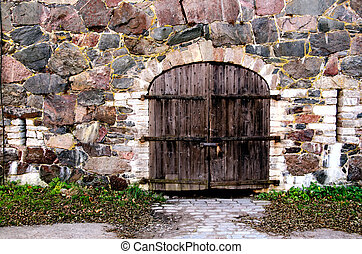 trä vägg, sten, dörr