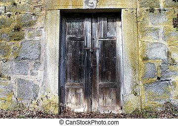 trä vägg, sten, dörr, gammal