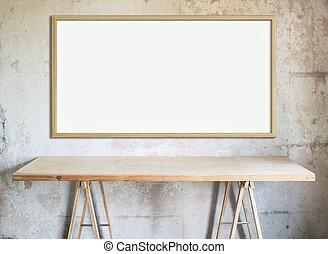 trä vägg, verkstad, bord, bord, vit, tom