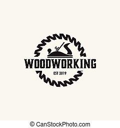 träbearbetning, vektor, mall, design, logo, isolerat, illustration