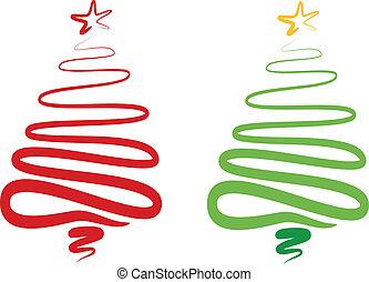 träd, abstrakt, vektor, jul