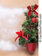träd, bakgrund, gran, snö, jul
