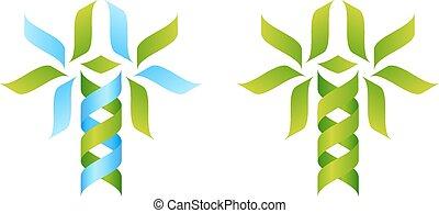 träd, begrepp, dna, ikon