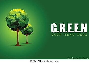 träd, begrepp, grön