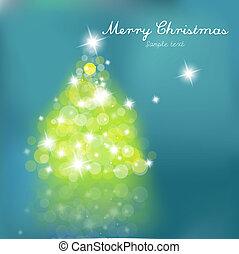 träd, blå tänder, jul, bakgrund., suddig