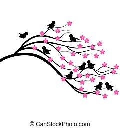 träd, brunch, med, fåglar