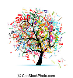 träd, design, begrepp, inköp, din