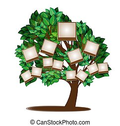 träd, design, familj, mall