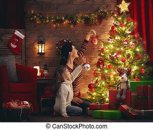träd., dotter, dekorera, mamma, jul
