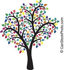 träd, färgrik