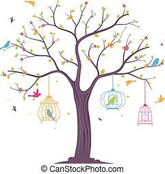 träd, fåglar, färgrik