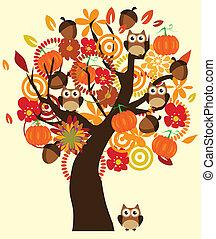 träd, falla