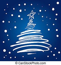 träd, fanfar, jul, (illustration)