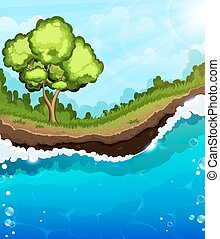 träd, flodstrand
