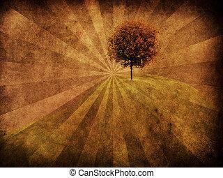 träd, grunge, bakgrund