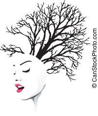 träd, hår