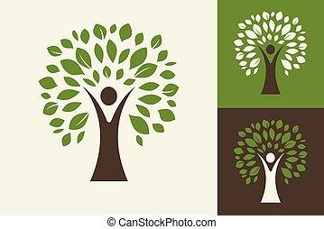 träd, ikon, -, grön, logo