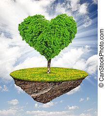 träd, in, den, form, hjärta