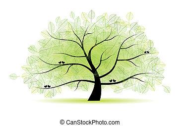 träd, ivrig, gammal, din, design