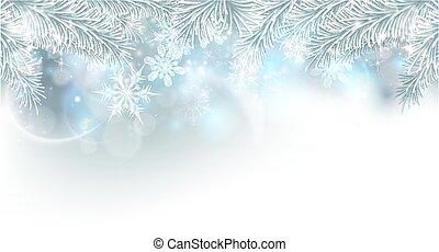 träd, jul, bakgrund, snöflingor