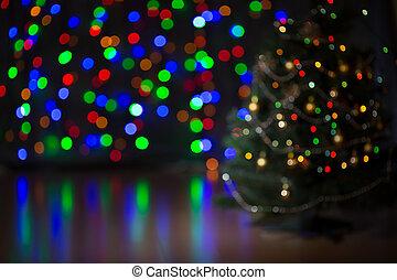 träd, jul, bakgrund, suddig