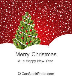 träd, jul, bakgrund, vinter