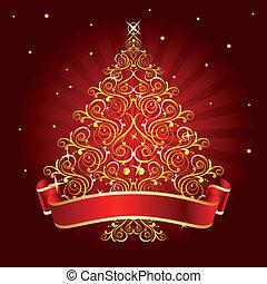 träd, jul, röd