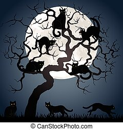 träd, katter, svart