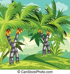 träd., kokosnöt, djungel, illustration, barn