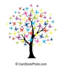 träd, med, fjärilar, sommar