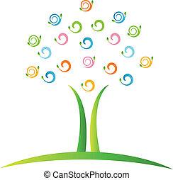 träd, med, swirly, det leafs, logo, vektor