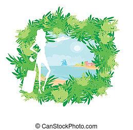träd, palm, flicka, resa