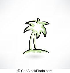 träd, palm, grunge, ikon