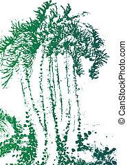 träd, palm, vattenfärg, struktur