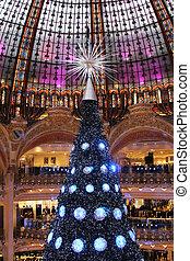 träd, paris, frankrike, lafayette, galeries, jul