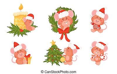 träd, söt, inred, holdingen, örn, framskjutande, mus, käpp, ...