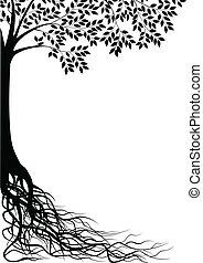 träd, silhuett