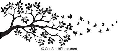 träd, silhuett, med, fjäril