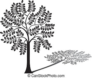 träd, skugga, silhuett