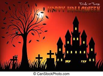 träd, slott, kyrkogård, natt