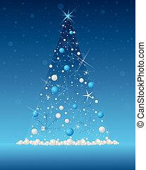 träd, snöflinga, jul